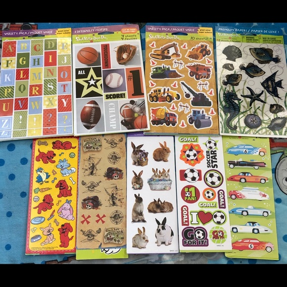 Other - Lot of 9 sticker packs 16 designs 600+
